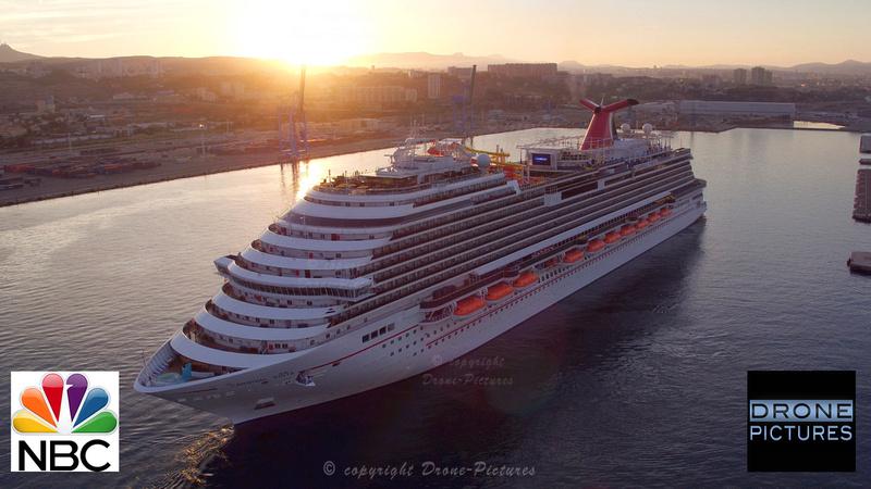 Arrivée du Carnival Vista à Marseille, au petit matin, vue aérienne
