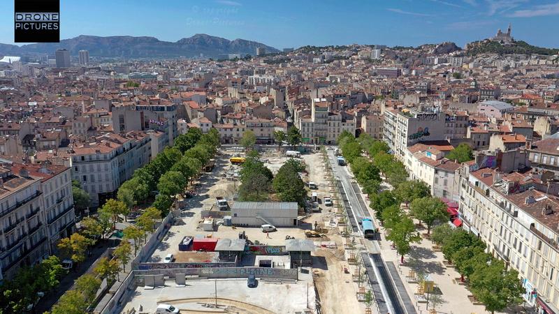 Vue aérienne des travaux Place Jean-Jaurès le O8 août 2019 © Drone-Pictures - reproduction interdite
