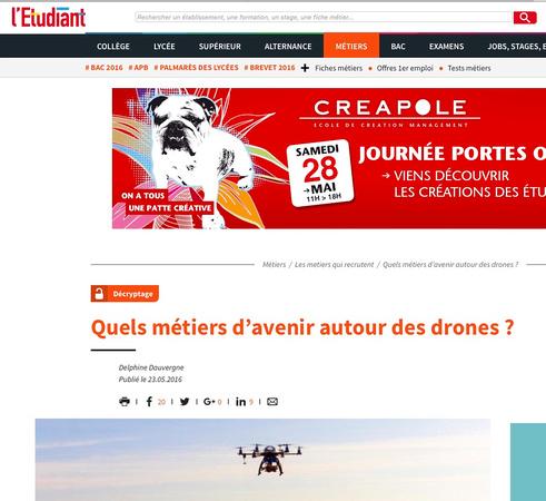 Article letudiant Quels métiers d'avenir autour des drones