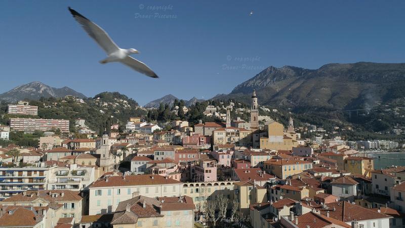 Vue aérienne de Menton - Mouette © Drone-Pictures.fr
